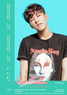 Wonwoo SEVENTEEN CONCERT POSTER too bad he won't be in the concert I think. I miss our little Wonwoo.