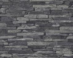 Schwarze Steinfassade von A.S. Création, Tapete 914224 #black #and #white #schwarz #weiß #tapete #ascreation #living #interior #stein