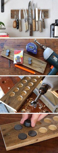 DIY del estante pared rústica: Este estante magnético del cuchillo expuesta es muy útil para maximizar el espacio de almacenamiento y proporciona un fácil acceso a las herramientas de cocina.