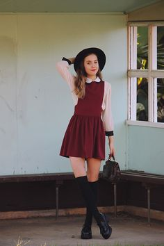 Isabella Wight - Topshop Pinafore, Oasap Hat - Prepster