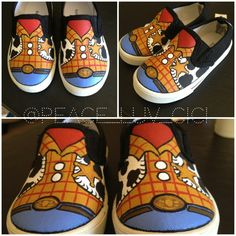 hand painted woody shoes by Cierra Whitney. for inquiries - xpeace.luv.cicix@gmail.com   #toystory #woody #diy