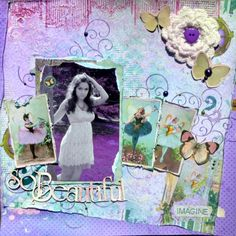 BoBunny Enchanted Garden layout with designer Agnieszka Bellaidea. Love the design and all the added touches! #BoBunny, @bellaideascrap