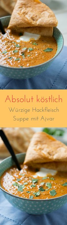 Ajvar Suppe mit Hackfleisch – ideal zur Zubereitung im Slowcooker Incredibly delicious – without seasoning and prepared in just a few minutes – this Ajvar minced meat soup is the absolute cracker and perfect for the next party Pizza Recipes, Grilling Recipes, Pork Recipes, Dinner Recipes, Healthy Recipes, Snacks Recipes, Shrimp Recipes, Brunch Recipes, Cooker Recipes