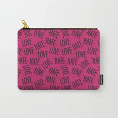 sweet foretell - word pattern with love Carry-All Pouch by Marta Janicka - murkydesign - Small x Word Patterns, Pouch, Wallet, Love Hat, Organize Your Life, Carry On, Pattern Design, Coin Purse, Words
