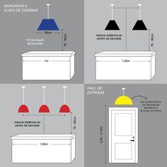 Medidas ideais para pendentes em cima de ilhas e bancadas de cozinha. Coffee Shop Interior Design, Interior Design Guide, Kitchen Layout Plans, Small Kitchen Layouts, Interior Lighting, Home Lighting, Lighting Design, Pinterest Room Decor, Kitchen Measurements