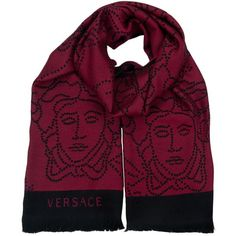 Pre-owned Versace Scarf/Wrap featuring polyvore, fashion, accessories, scarves, apparel & accessories, clothing accessories, red, scarves & shawls, wool shawl, print scarves, polka dot scarves, versace and wrap scarves