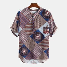 TWO-SIDED Mens Summer Ethnic Style Loose Casual Shirt Short Sleeve Henley Shirt is best and cheap on Newchic. Men's Shirts And Tops, Casual Shirts, Henley Shirts, Ethnic Fashion, Pattern Fashion, Streetwear Fashion, Shirt Style, Short Sleeves, Shorts