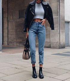Crop top + jeans.