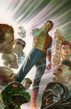 Amazing Spiderman by Alex Ross Poster. Comic Book Artists, Comic Book Heroes, Comic Artist, Comic Books Art, Alex Ross, Marvel Vs, Marvel Heroes, Captain Marvel, Spiderman Marvel