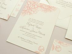 Swoon Pink Peony Wedding Invitation Invite Set by BanterandCharm, $5.00