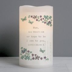 This stunning LED candle is a child and pet friendly way to add a touch of elegance to your home.Personalise this Candle with a message up to 5 lines of personalisation. Each line can be personalised with up to 20 characters per line. Lines 2 and 5 will be in UPPER CASE.The LED candle has a flickering effect flame and