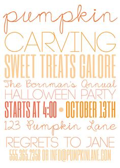 Pumpkin Carving Halloween Party Invite (20 printed 5x7) Woman's Day Featured Party. $33.50, via Etsy.