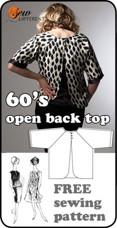 Free sewing pattern - 1960s open back top for women. PDF download or draw it yourself.
