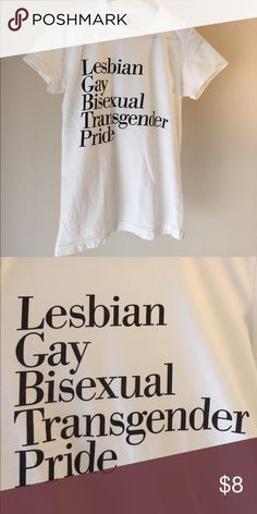 LGBT Tee in off white Show your pride or support with this LGBT classic tee made from sustainable cotton. Fits like a unisex small but is labeled as a women's large. American Apparel Tops Tees - Short Sleeve