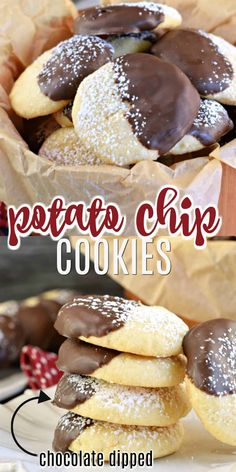 Chocolate Dipped Potato Chip Cookies - Shugary Sweets Sweet and salty potato chip cookies made even better with a dip into melted chocolate. You've never tasted anything like Chocolate Dipped Potato Chip Cookies! Easy No Bake Desserts, Köstliche Desserts, Delicious Desserts, Dessert Recipes, Candy Recipes, Dessert Ideas, Snack Recipes, Snacks, Chocolate Potato Chips