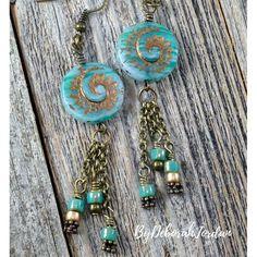 Aqua Blue Czech Bead Earrings