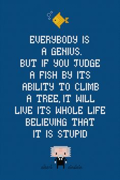 Albert Einstein Quote - Fish - Cross Stitch PDF Pattern Download. $4.00, via Etsy.