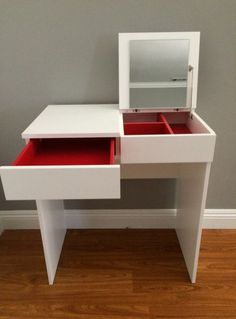 Ikea Brimnes dressing table / jewelry storage -, # dressing table … - Make Up Desk Mirror Jewelry Storage, Jewellery Storage, Diy Jewelry, Trendy Jewelry, Vintage Jewelry, Jewelry Making, Dressing Tables, Ikea Closet, Makeup Vanities