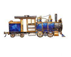 Blue Steam Engine Locomotive watercolor print от FlightsByNumber, $20.00