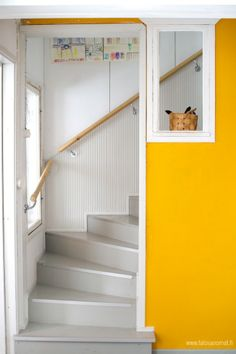 Yellow, grey and white House Color Schemes, House Colors, Stair Shelves, Scandinavian Cottage, House Stairs, Gray Interior, Cottage Interiors, Tiny House Living, Retro Home
