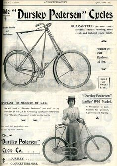 April 1900:Dursley Pedersen ad (also shows the ladies version frame)