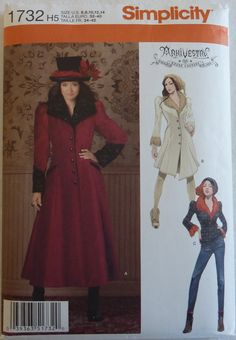 Sewing Pattern Simplicity 1732 - ArkiVestry Haunt Couture - Women's Coat and Jacket in Two Lengths - Size 6, 8, 10, 12, 14 - UNCUT