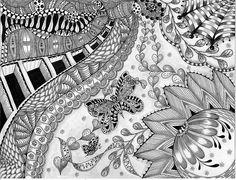 """ NEXT EXIT ... SPRING! "" | Flickr - Photo Sharing! zentangle butterflies, art zentangl, doodles, doodl zentangl, carolyn boettner, heart vine, spring blue, tangl art, exit"