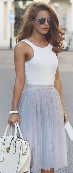 #summer #popular #outfits | White Bodysuit + Grey Tulle
