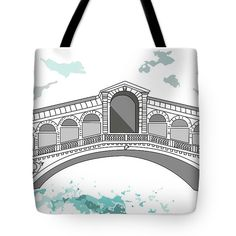 Ponte Di Rialto In Venice Tote Bag by Marina Usmanskaya for home design.   The tote bag is machine washable, available in three different sizes, and includes a black strap for easy carrying on your shoulder.  All totes are available for worldwide shipping and include a money-back guarantee. One of the four bridges across the Grand Canal in Venice, is located in the Rialto quarter.Travel in Italy.