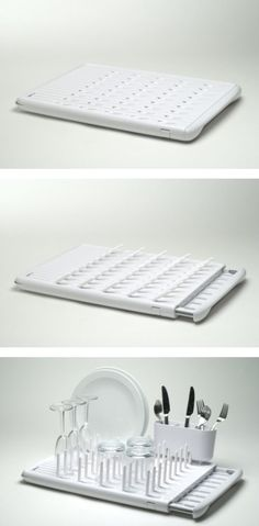 ThisMechanical Dish Rackseems to be a brilliant solution to a small kitchen.