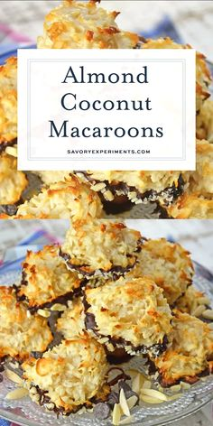 Almond Coconut Macaroons are light, fluffy coconut biscuits dipped in chocolate and almonds. Perfect as a dessert, for tea for as a an afternoon snack. Almond Coconut Cake, Coconut Desserts, Coconut Chocolate, Coconut Recipes Snacks, Chocolate Cookies, Almond Cookies, Tart Recipes, Almond Recipes, Healthy Recipes