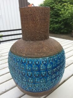 Aldo Londi Vintage Bitossi Vase in beautiful blue on brown 70s Italy by AtRathjes on Etsy https://www.etsy.com/listing/385013082/aldo-londi-vintage-bitossi-vase-in