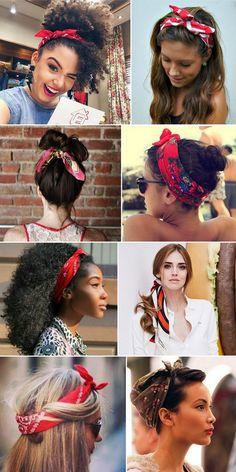 Como usar bandanas na cabeça e no pescoço. Os lenços no penteado são ótimos aliados para enfrentar o day after e os bad hair days!