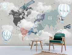 Cloudy Weather Kids World Map Aircrafts Wallpaper Planes Wall Poster Nursery Teenage Room Hot Air Balloon Trendy Wall Mural