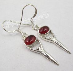 925 Silver AMAZING CARNELIAN GODDESS Earrings 3.9CM New #Dangle