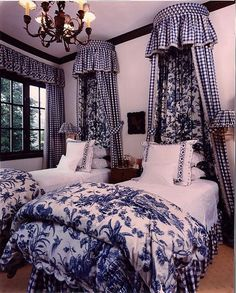 Beautiful Blue & White French Country Bedroom