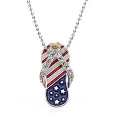 Jewelryfinds Lady Red White & Blue Epoxy Rhinestone Patriotic Flip Flop Pendant Necklace 16 Fashion Jewelryfinds pendant-necklaces http://www.amazon.com/dp/B0123JZCIA/ref=cm_sw_r_pi_dp_QofTvb0ZEC5YE