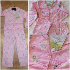 BNWT 'little ewe' girls 100% brushed cotton pink  pyjamas  Sizes 3-4 years £6.99