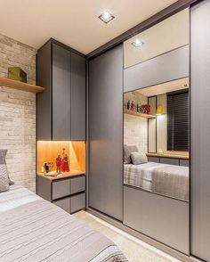 47 Minimalist Storage Ideas For Your Small Bedroom The space beneath your bed provides a great deal of possibilities to store things. With just a little region, you're necessary to create a cozy bedroom design along with having the capacity t… Wardrobe Design Bedroom, Bedroom Cupboard Designs, Bedroom Bed Design, Bedroom Cupboards, Bedroom Furniture Design, Bedroom Decor, Bedroom Ideas, Small Bedroom With Wardrobe, Bedroom Boys