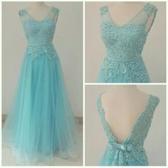 Turquoise A-line lace up applique backless tulle long floor-length Prom Dresses special high quality,Cheap prom dress BD1705671