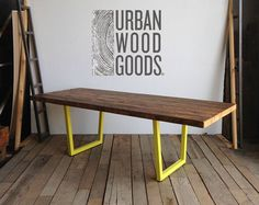 Large conference table with steel pipe legs and by UrbanWoodGoods
