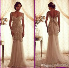 Wholesale Mermaid Wedding Dresses - Buy Cheap Ivory Beach Anna Campbell Vintage Wedding Dresses Lace 2014 Sweetheart Capped Sleeveless Backless Beads Mermaid Bridal Gowns2014, $173.41 | DHgate