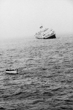 July 25 1956: Forty-five miles south of Nantucket Island, the Italian ocean liner SS Andrea Doria collides with the MS Stockholm in heavy fog and sinks the next day, killing 51 http://en.wikipedia.org/wiki/SS_Andrea_Doria Photo: Loomis Dean/Time & Life Pictures