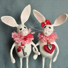 Polymer Clay Valentine Bunny Figurines by APieceofLisa on Etsy, $68.00