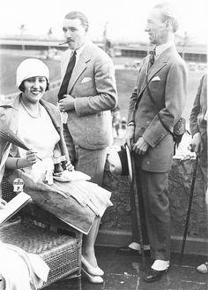 Gloria Swanson and Marquis Henri de la Falaise at a Club House Horse Race, 1920's