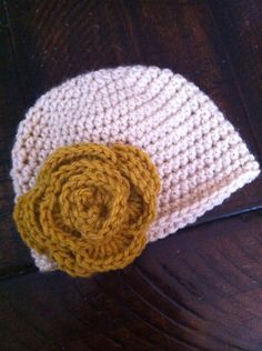 Crocheted Rose Baby Hat on Etsy, $15.00
