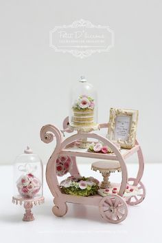 Petit D' Licious: Everything just so lovely on Dollhouse Miniature Trolley Cart
