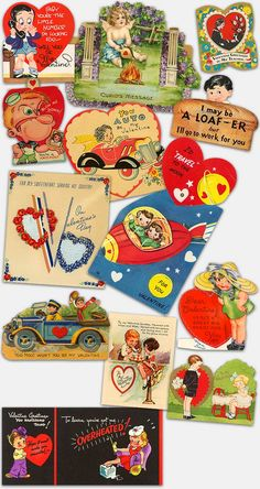 Collectible antique Valentine's Day cards, greeting cards