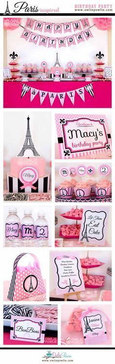 Paris BIRTHDAY Party Printable Package & Invitation by OwliePowlie