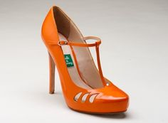 Tango - A tangerine patent leather.